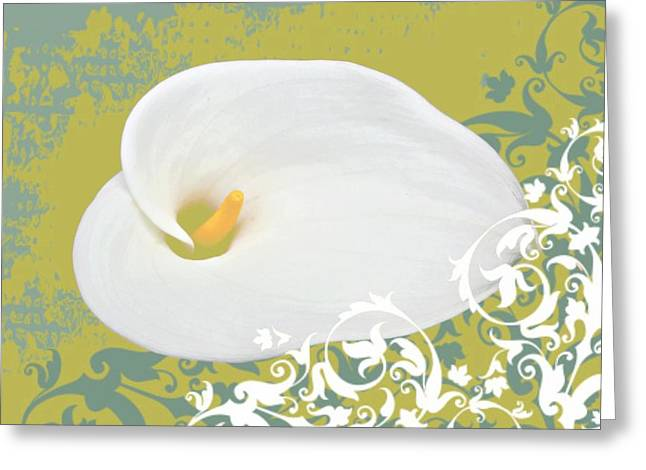 Calla Lily Mixed Media Greeting Cards - Calla Lily Greeting Card by Cathie Tyler