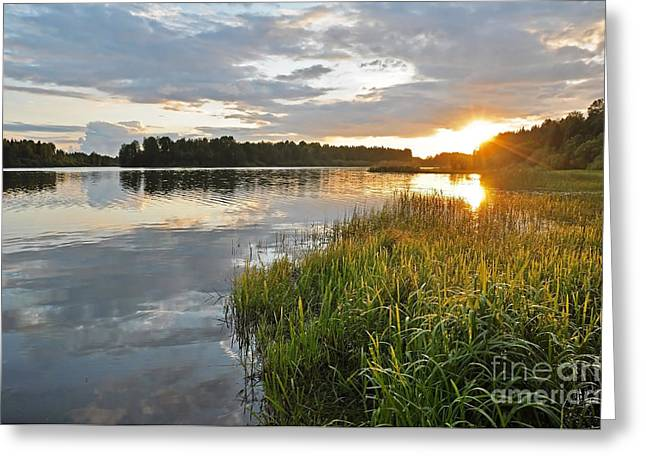 Peaceful Scenery Pyrography Greeting Cards - Calm lake reflection Greeting Card by Conny Sjostrom