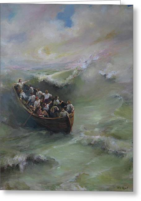 Christ Sermon Greeting Cards - Calming the storm Greeting Card by Tigran Ghulyan