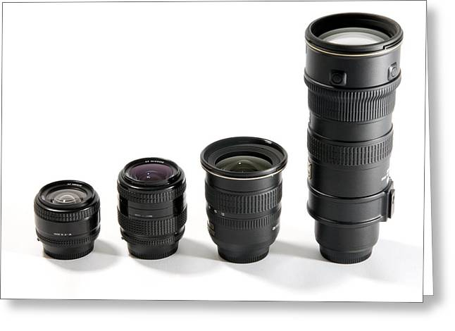 Nikkor Greeting Cards - Camera Lenses Greeting Card by Johnny Greig