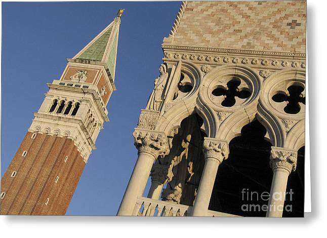 Campanile. Plazza San Marco. Venice Greeting Card by Bernard Jaubert