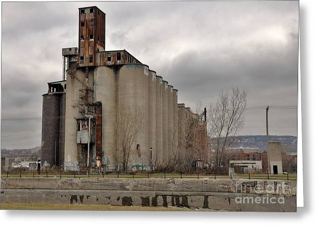 Montreal Urban Landscapes Greeting Cards - Canada Malting Plant Greeting Card by Reb Frost