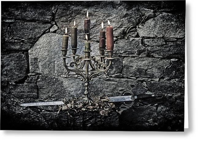 Candelabra Greeting Cards - Candle Holder And Sword Greeting Card by Joana Kruse
