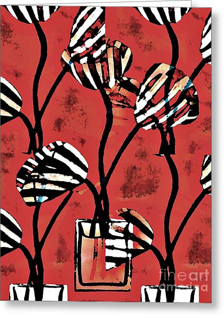 Sarah Loft Greeting Cards - Candy Stripe Tulips 2 Greeting Card by Sarah Loft
