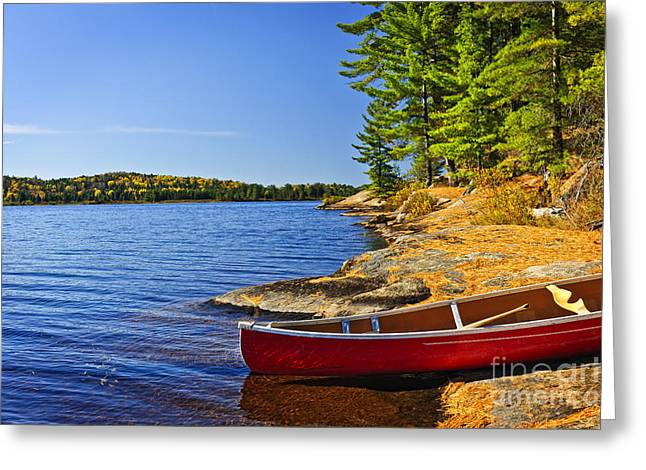 Canoe Greeting Cards - Canoe on shore Greeting Card by Elena Elisseeva