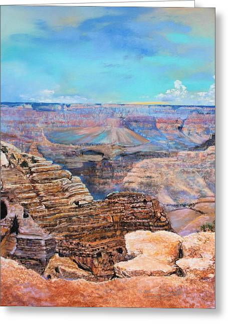 Camping Pastels Greeting Cards - Canyon Blues Greeting Card by M Diane Bonaparte