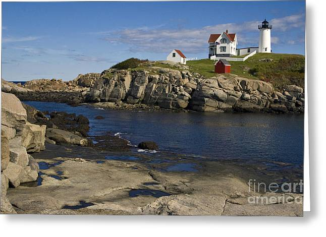Cape Neddick Greeting Cards - Cape Neddick Lighthouse Greeting Card by Denise Dempster