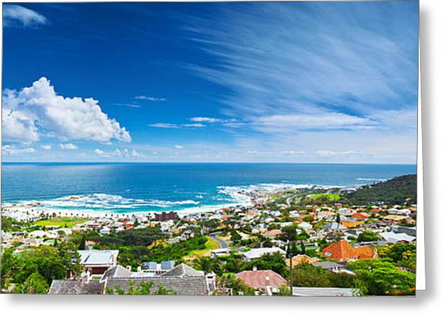 Ocean Panorama Greeting Cards - Cape Town city panoramic image Greeting Card by Anna Omelchenko