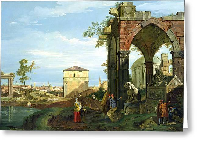 1768 Greeting Cards - Capriccio with Motifs from Padua Greeting Card by Canaletto