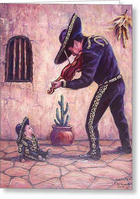 Mariachi Greeting Cards - Captivated Listener Greeting Card by Ed Breeding