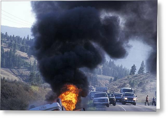 Car In Flames Greeting Card by Kaj R. Svensson