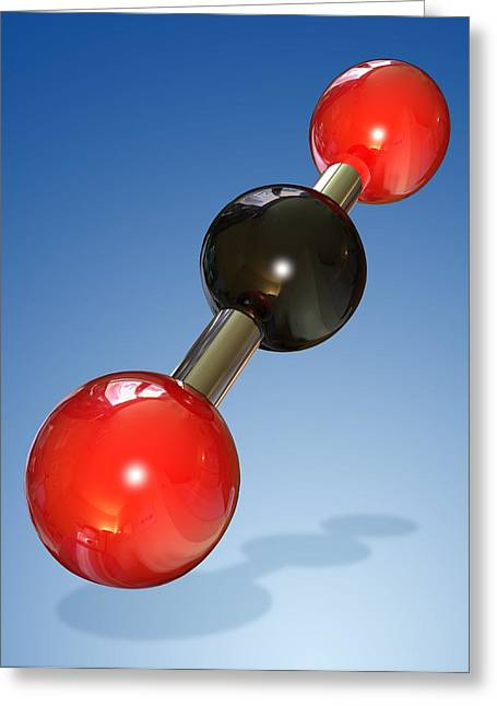 Carbon Dioxide Photographs Greeting Cards - Carbon Dioxide Molecule Greeting Card by Miriam Maslo