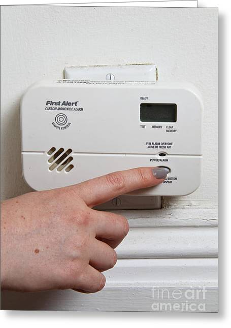 Safety Test Greeting Cards - Carbon Monoxide Alarm Greeting Card by Photo Researchers, Inc.