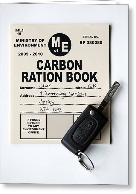 Carbon Dioxide Greeting Cards - Carbon Ration Book For Driving Greeting Card by Victor De Schwanberg