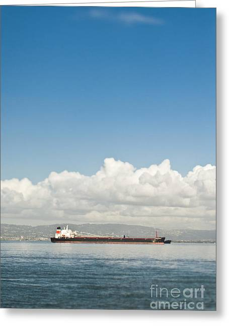 Seagoing Greeting Cards - Cargo Ship on the Water Greeting Card by Eddy Joaquim