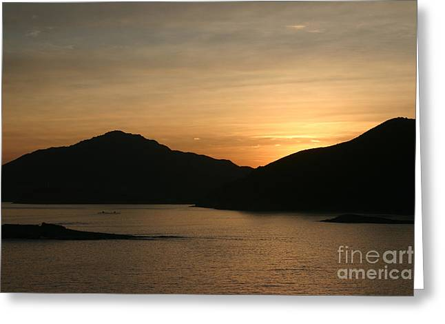 Twilight Pyrography Greeting Cards - Caribbean Sunrise Greeting Card by Torsten Dietrich
