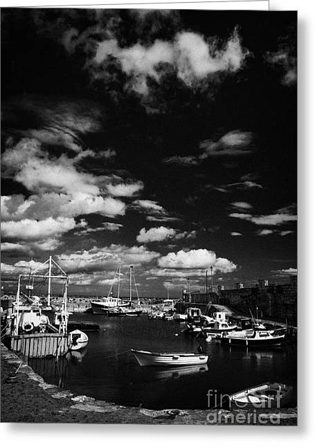 Small Fishing Village Greeting Cards - Carnlough harbour county antrim northern ireland uk Greeting Card by Joe Fox