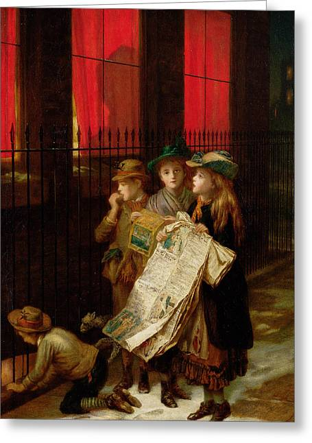 Singer Paintings Greeting Cards - Carol Singers Greeting Card by Augustus Edward Mulready