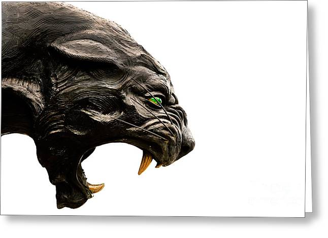 Mecklenburg County Greeting Cards - Carolina Panthers statue Greeting Card by Patrick Schneider
