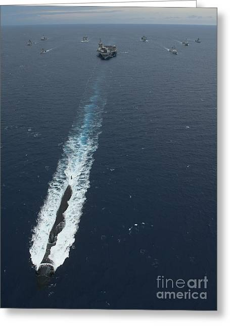 Bunker Hill Greeting Cards - Carrier Strike Group Formation Of Ships Greeting Card by Stocktrek Images