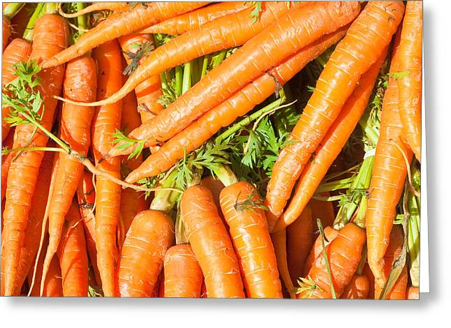 Nutritional Greeting Cards - Carrots Greeting Card by Tom Gowanlock