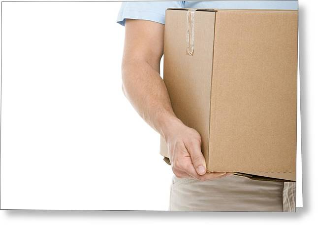 Cardboard Greeting Cards - Carrying A Box Greeting Card by