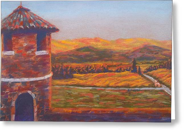 Napa Valley Vineyard Pastels Greeting Cards - Castello di Amorosa Greeting Card by Becky Chappell