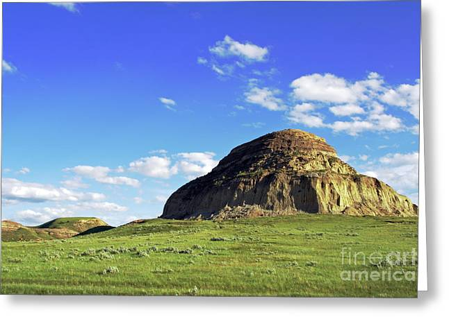 Blue Mudstone Greeting Cards - Castle Butte in Saskatchewan Greeting Card by Charline Xia