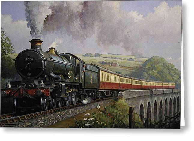 Railway Greeting Cards - Castle on Broadsands viaduct Greeting Card by Mike  Jeffries