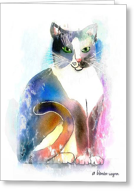Feline Mixed Media Greeting Cards - Cat Of Many Colors Greeting Card by Arline Wagner