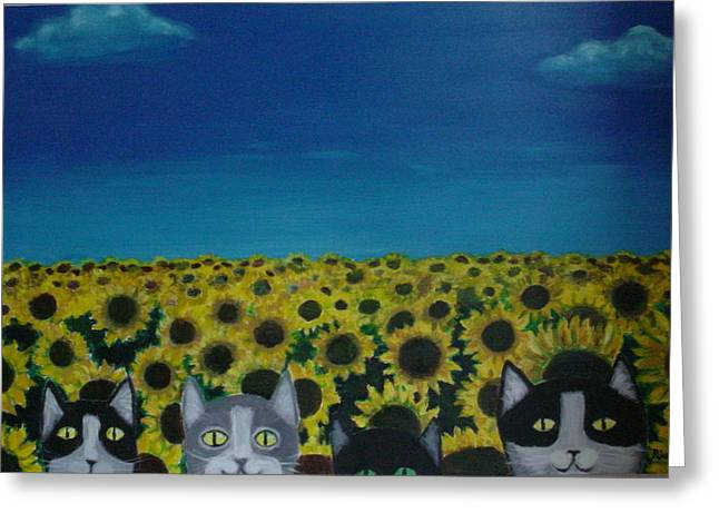 Diana Riukas Greeting Cards - Cats and Sunflowers Greeting Card by Diana Riukas