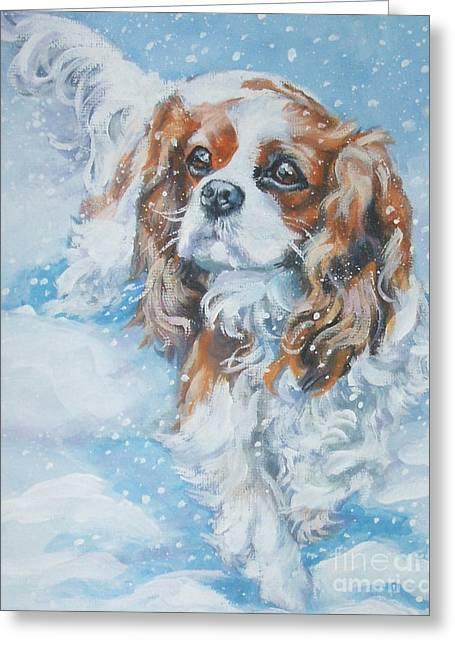 King Charles Spaniel Greeting Cards - Cavalier King Charles Spaniel blenheim in snow Greeting Card by Lee Ann Shepard