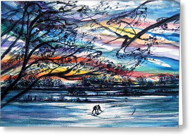 Man In The Wilderness Greeting Cards - Center Ice Greeting Card by NHowell