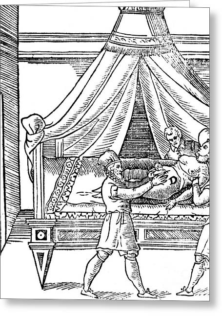 17th C Greeting Cards - Cesarean Section, 17th Century Greeting Card by Science Source