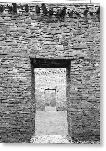 Chaco Greeting Cards - Chaco Canyon Doorways 1 Greeting Card by Carl Amoth