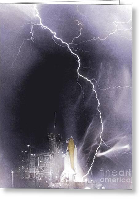 Lightning Strike Greeting Cards - Challenger Struck By Lightning Greeting Card by Nasa