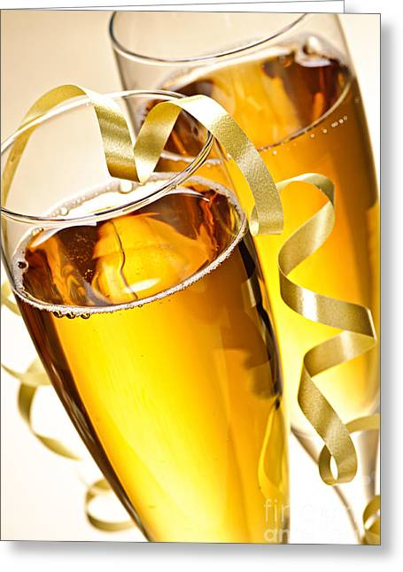 Champagne Glasses Greeting Cards - Champagne glasses Greeting Card by Elena Elisseeva