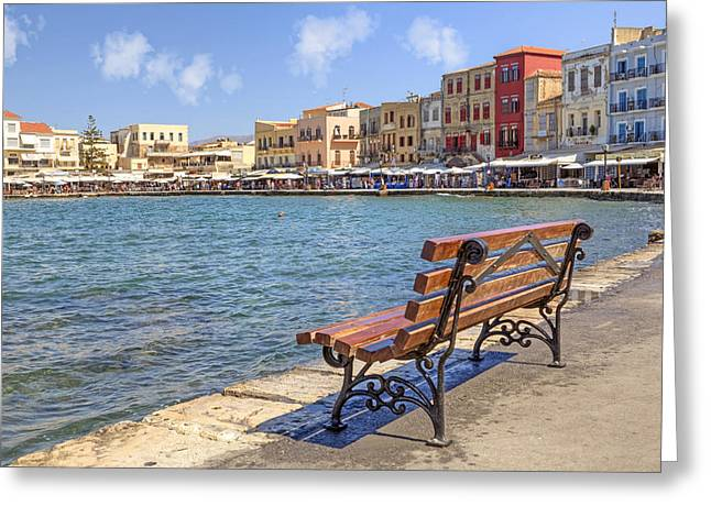 Park Benches Greeting Cards - Chania - Crete Greeting Card by Joana Kruse