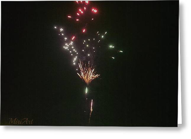 Hannukah Greeting Cards - Chanukah Fireworks I Greeting Card by Miriam Shaw