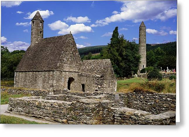 Chapel Of Saint Kevin At Glendalough Greeting Card by The Irish Image Collection