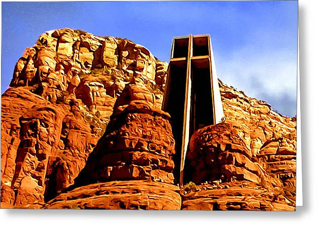 Courage Paintings Greeting Cards - Chapel of the Holy Cross Greeting Card by  Bob and Nadine Johnston