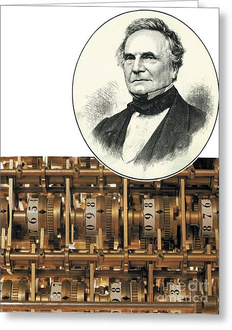 Important Greeting Cards - Charles Babbage, English Computer Greeting Card by Science Source