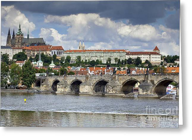 Medieval Clock Greeting Cards - Charles Bridge and Prague Castle Greeting Card by Andre Goncalves