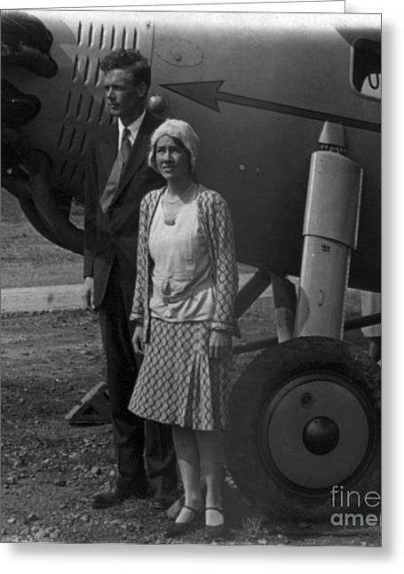 Lindy Greeting Cards - Charles Lindbergh, American Aviator Greeting Card by Photo Researchers