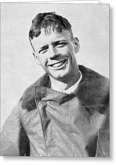 Human Spirit Greeting Cards - Charles Lindbergh, Us Aviation Pioneer Greeting Card by Science, Industry & Business Librarynew York Public Library