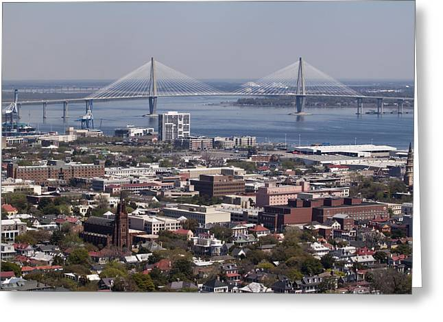 Ravenel Greeting Cards - Charleston South Carolina Aerial Greeting Card by Dustin K Ryan