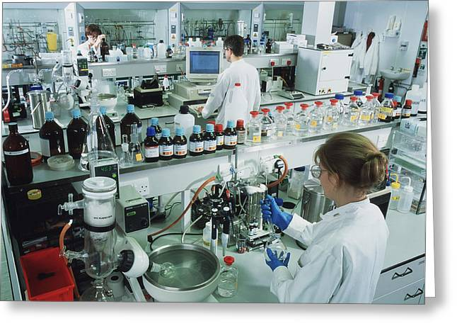 Laboratory Equipment Greeting Cards - Chemistry Laboratory Greeting Card by Tek Image