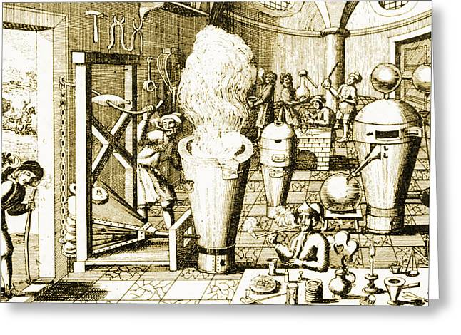 1700s Greeting Cards - Chemists Laboratory 1700s Greeting Card by Science Source