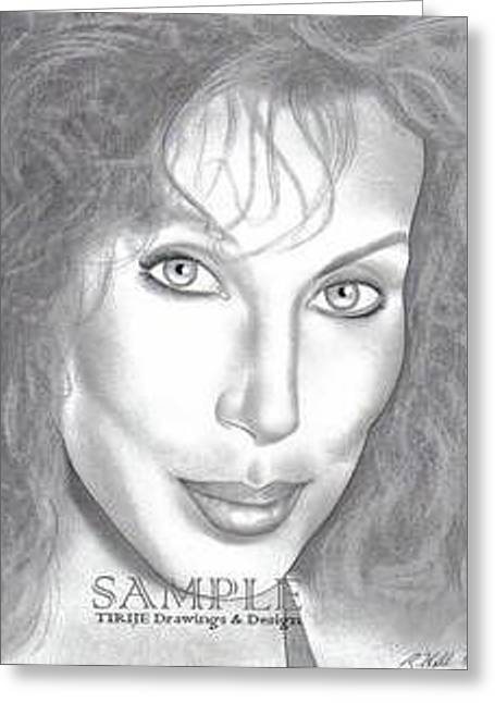 Refurbished Photos Drawings Greeting Cards - Cher Greeting Card by Rick Hill