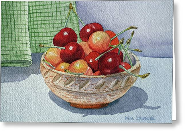 Recently Sold -  - Berry Greeting Cards - Cherries Greeting Card by Irina Sztukowski